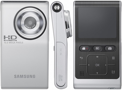 Samsung Intros HMX-U10 Full-HD 10MP Pocket Camcorder [Silver All Angles]