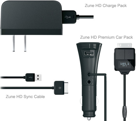 zune-hd-charge-pack-zune-hd-premium-car-pack-zune-hd-sync-cable