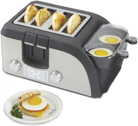 Breakfast Sandwich Maker Cooks Eggs Toasts Bread Warms