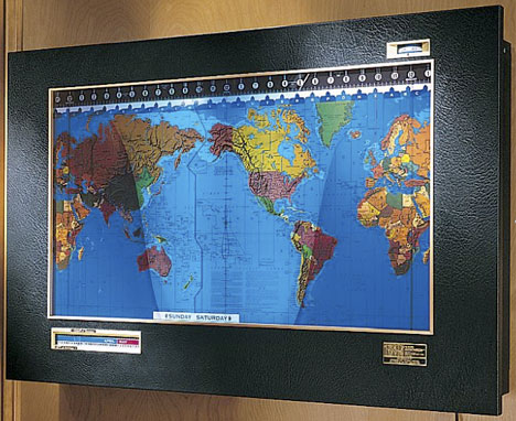 Geochron World Clock Moving Map Displays Time Zones Pentagon Style ...