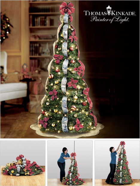 thomas kinkade pre lit pull up christmas tree - Pre Decorated Christmas Trees