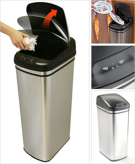 iTouchless 13-Gallon Stainless Steel Automatic Trash Can