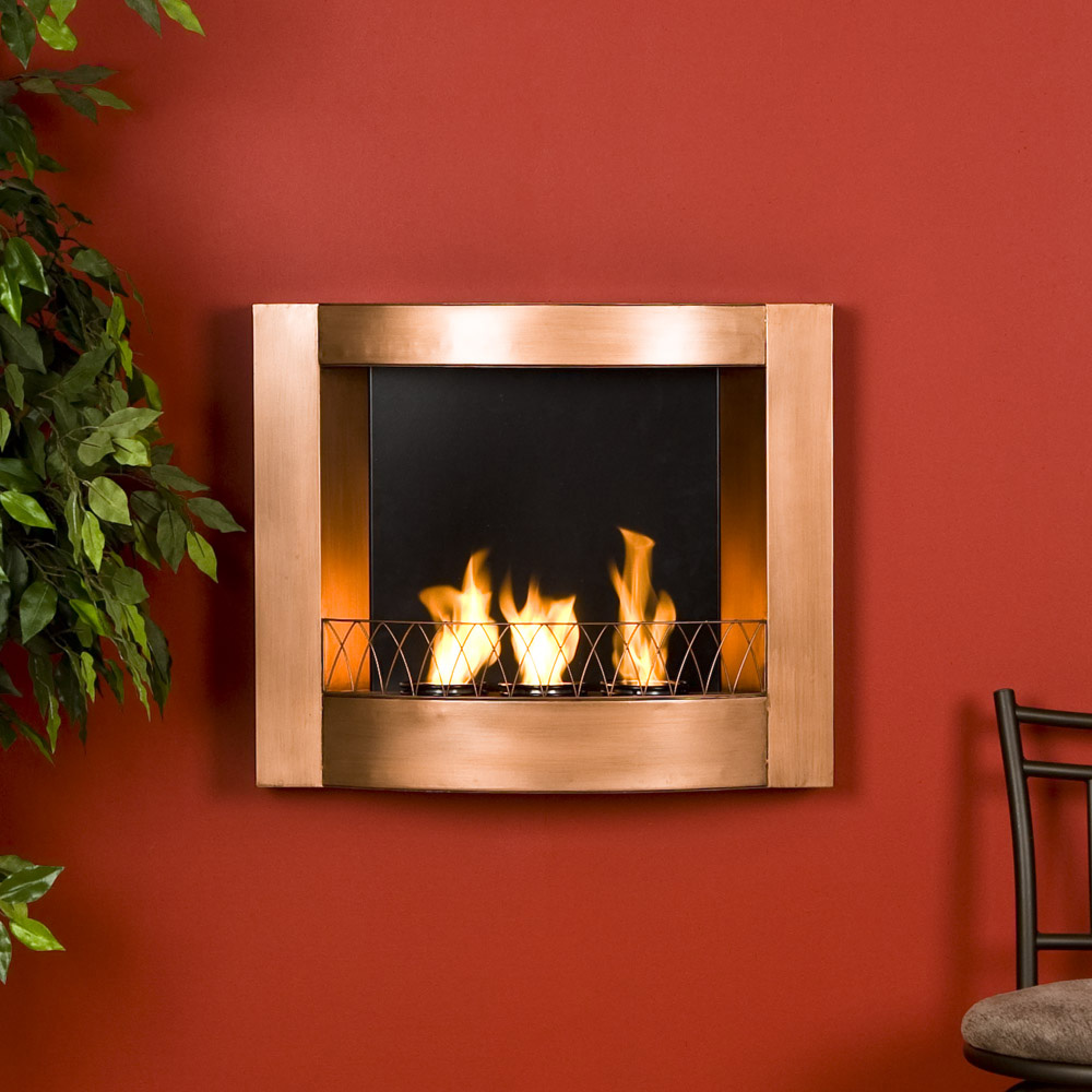 copper finish wall mount gel fuel fireplace burns clean to enliven any space mark 39 s technology. Black Bedroom Furniture Sets. Home Design Ideas