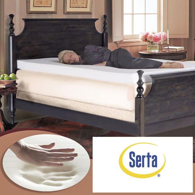 Serta 4 Inch Pillow Top Memory Foam Mattress Topper Queen