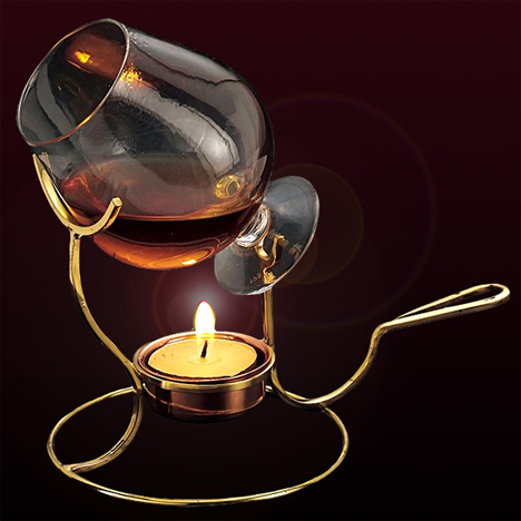 Copper Brandy Snifter and Warmer Set